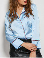 One Pocket Patchwork Loose Fit Satin Shirt