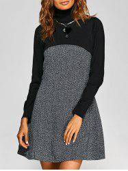Turtle Neck Knit-Paneled Textured Dress -