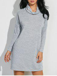 Cowl Neck Heathered Shift Dress - LIGHT GRAY XL