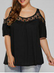 Plus Size Lace Insert Cut Out T-Shirt - BLACK