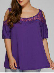 Plus Size Lace Insert Cut Out T-Shirt