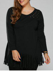 Plus Size Fringed Metal Embellished T-Shirt