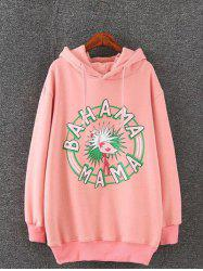 Plus Size Drop Shoulder Cartoon Print Pullover Hoodie - PINK