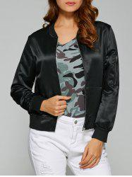 Zipper Design Satin Bomber Jacket