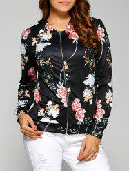 Floral Print Zippered Jacket -