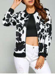 Cow Print Zipper Design Bomber Jacket - BLACK