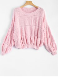 Drop Shoulder Ribbed Pullover Sweater - PINK ONE SIZE