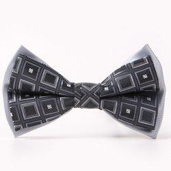 Tartan Pattern Double-Deck Bow Tie - BLACK