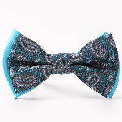 Ethnic Style Pattern Double-Deck Bow Tie - LAKE BLUE