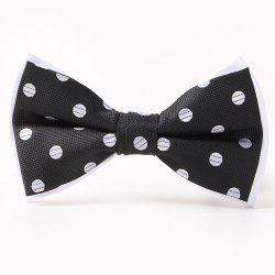 Polka Dot Pattern Double-Deck Bow Tie - WHITE AND BLACK