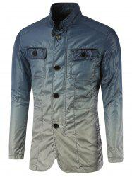 Stand Collar Pockets Front Button Up Ombre Jacket - BLUE XL