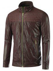 Froncé stand Collar Zippered Faux Leather Jacket - Brun M
