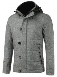 Button Embellished Zippered Hooded Texture Padded Jacket - GRAY