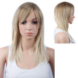 Graceful Long Side Bang Straight Mixed Color Synthetic Hair Wig