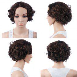 Retro Short Side Parting Curly Synthetic Wig - BROWN