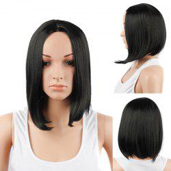 Medium Centre Parting Straight Synthetic Hair Wig - BLACK