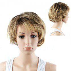 Graceful Short Double Color Side Bang Slightly Curled Synthetic Wig