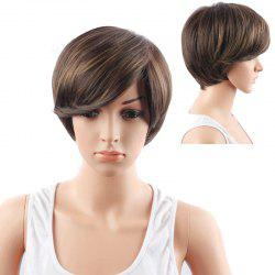 Short Side Bang Straight Mixed Color Synthetic Hair Wig