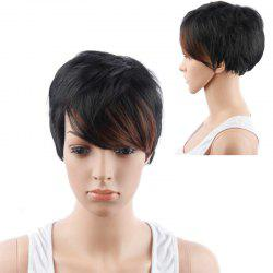 Short Boy Cut Side Bang Straight Mixed Color Synthetic Hair Wig