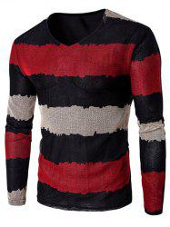 V Neck Long Sleeve Striped T Shirt - RED