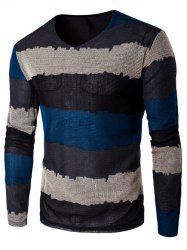 V Neck Long Sleeve Striped T Shirt - BLUE