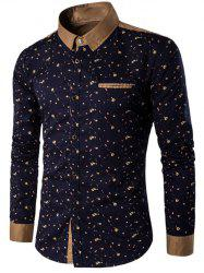 Floral Printed Contrast Insert Button Up Shirt - CADETBLUE M