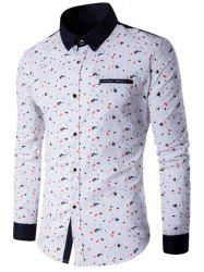 Floral Printed Contrast Insert Button Up Shirt - WHITE