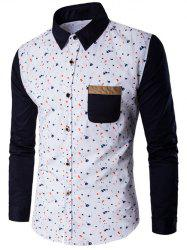 Contrast Insert Chest Pocket Printed Shirt