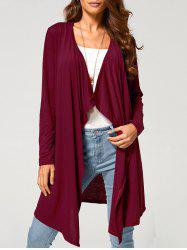 Long Duster Draped Cardigan - WINE RED XL