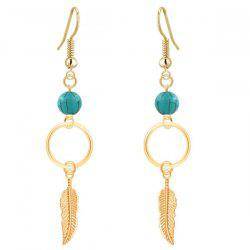 Leaf Turquoise Bead Drop Earrings