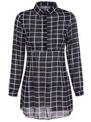 Buttoned Gingham Long Sleeve Dress -