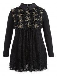 A-Line Long Sleeve Lace Plus Size Dress - BLACK 4XL