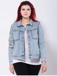 Broken Hole Double Pockets Ripped Jean Jacket