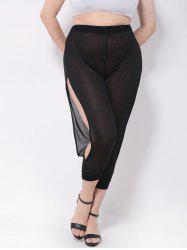 Mesh Split See-Through Harem Pants