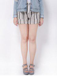 Plus Size Striped Mid-Waist Shorts -