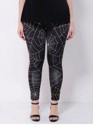 Plus Size Stretchy Spider Web Print Leggings - BLACK