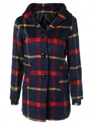 Checked Woolen Coat With Hoodie