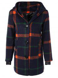 Woolen Checked Coat With Hoodie - PURPLISH BLUE 2XL