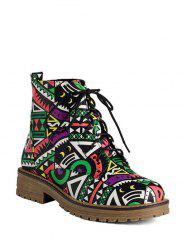 Bottines patchwork à lacet ,talon plat -