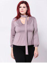 Tied-Up Long Sleeves Slimming T-Shirt -