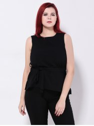 Chiffon Tied Belt Slimming Tank Top -