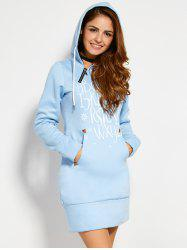 Zipper Letter Print Hooded Sweatshirt Dress