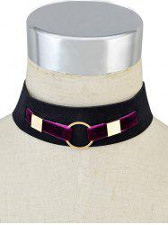 Metal Ring Velvet Wide Choker Necklace -