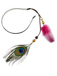 Boho Beaded Peacock Feathers Headband
