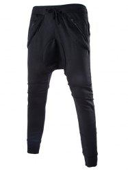 Zipper Embellished Loose Fit Low Crotch Jogger Pants - BLACK
