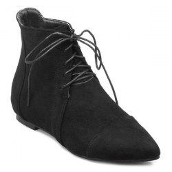 Pointed Toe Lace Up Flat Ankle Boots - BLACK 39