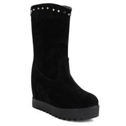 Hidden Wedge Rivets Mid Calf Boots -
