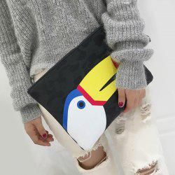 Colour Spliced Zip PU Leather Clutch Bag -