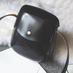 PU Leather Covered Closure Metallic Crossbody Bag - BLACK