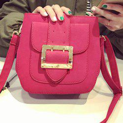 PU Leather Buckle Magnetic Closure Crossbody Bag
